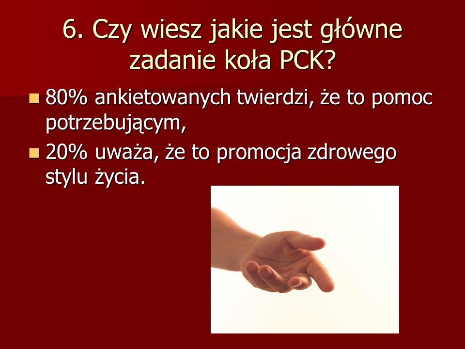 6.Czy wiesz jakie jest główne zadanie koła PCK.