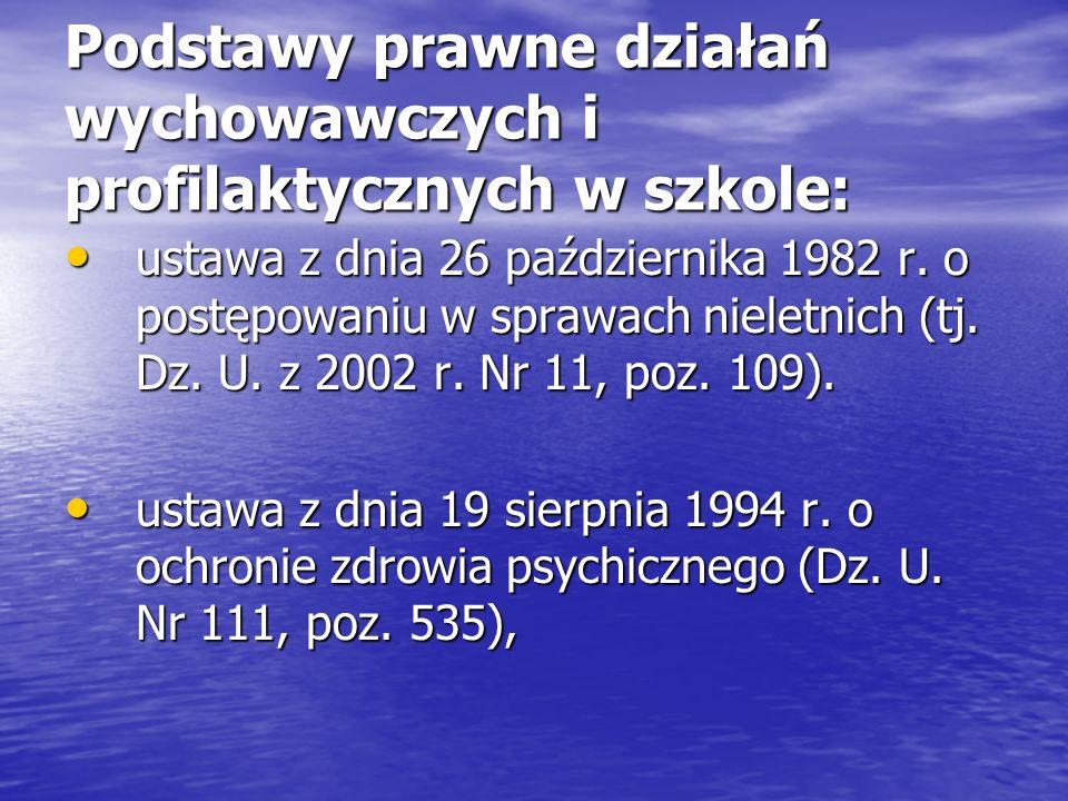 Podstawy prawne działań wychowawczych i profilaktycznych w szkole: ustawa z dnia 26 października 1982 r. o postępowaniu w sprawach nieletnich (tj. Dz.