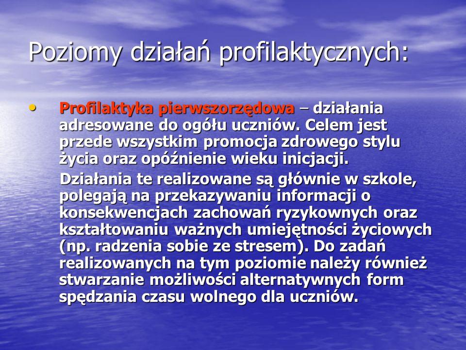 Poziomy działań profilaktycznych: Profilaktyka pierwszorzędowa – działania adresowane do ogółu uczniów. Celem jest przede wszystkim promocja zdrowego