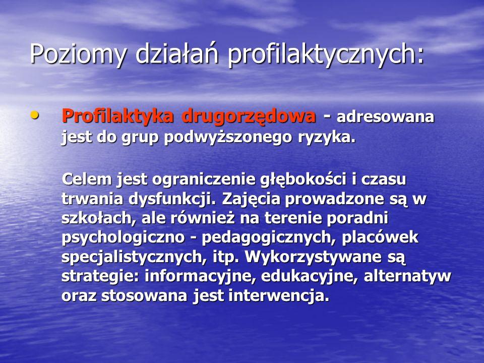 Poziomy działań profilaktycznych: Profilaktyka drugorzędowa - adresowana jest do grup podwyższonego ryzyka. Profilaktyka drugorzędowa - adresowana jes