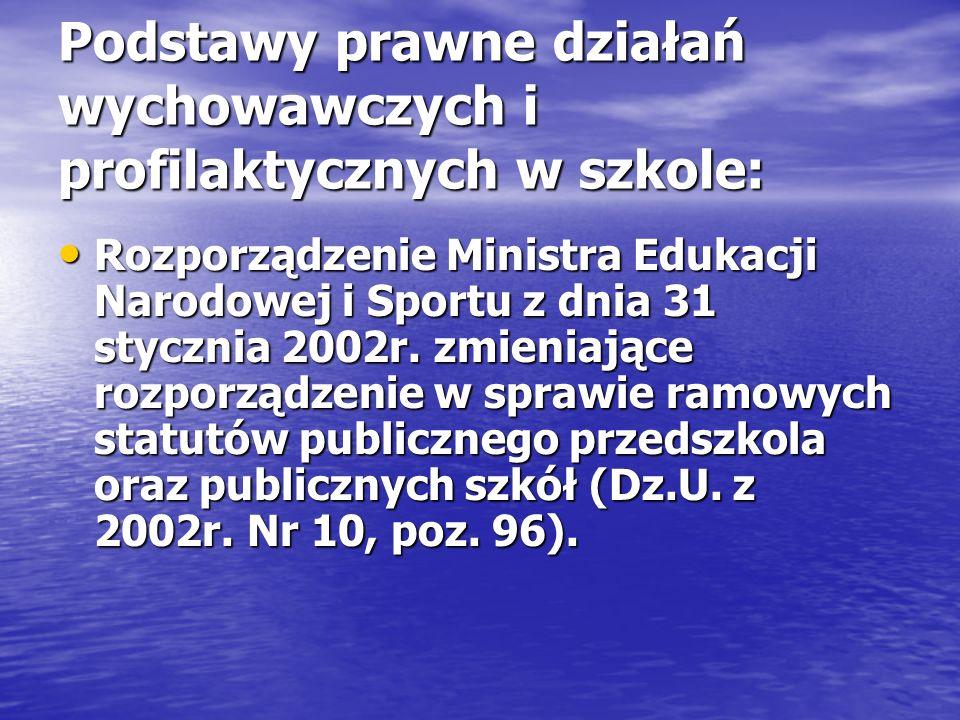 Podstawy prawne działań wychowawczych i profilaktycznych w szkole: Rozporządzenie Ministra Edukacji Narodowej i Sportu z dnia 31 stycznia 2002r. zmien