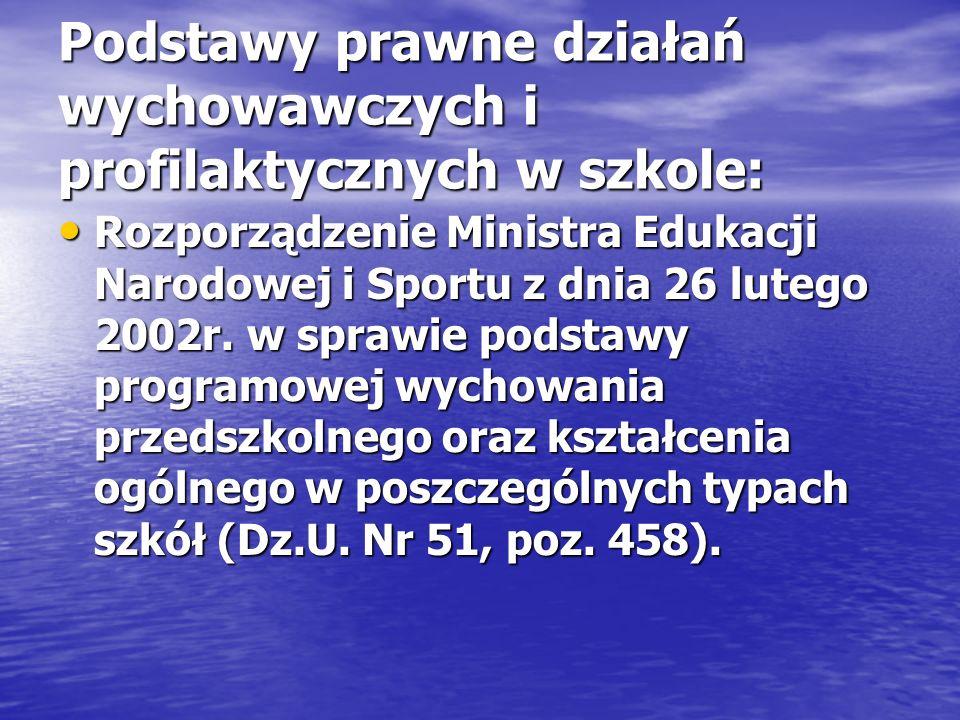Podstawy prawne działań wychowawczych i profilaktycznych w szkole: Rozporządzenie Ministra Edukacji Narodowej i Sportu z dnia 26 lutego 2002r. w spraw