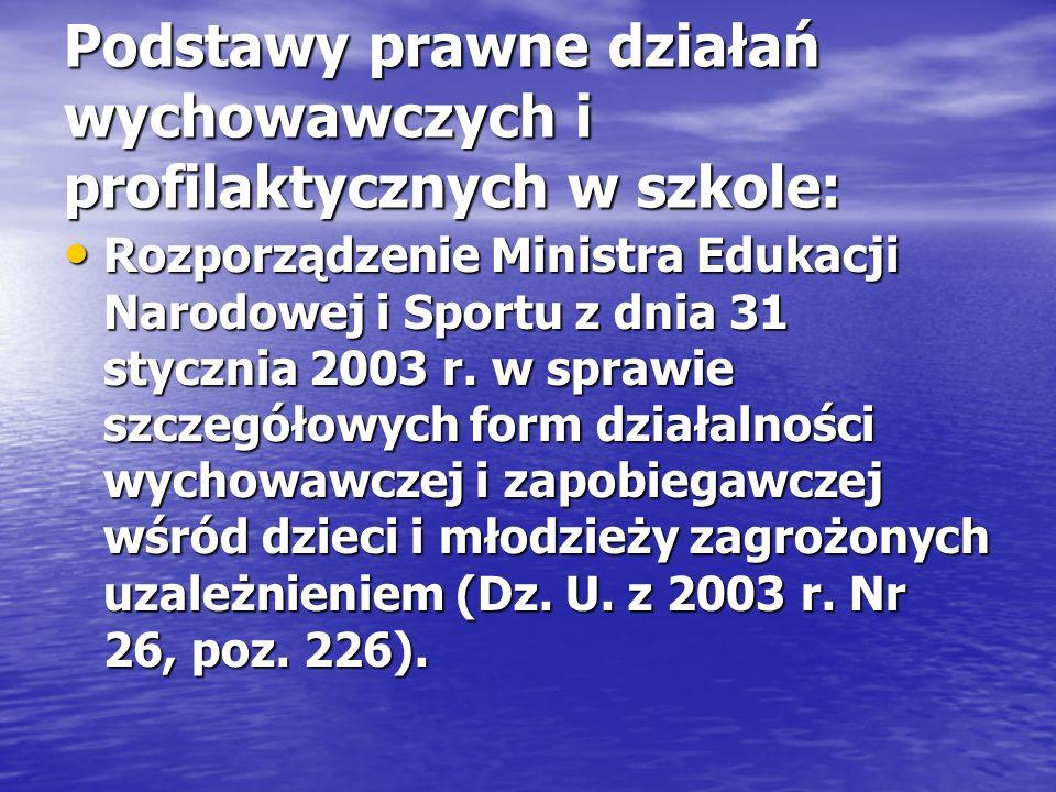 Podstawy prawne działań wychowawczych i profilaktycznych w szkole: Rozporządzenie Ministra Edukacji Narodowej i Sportu z dnia 31 stycznia 2003 r. w sp
