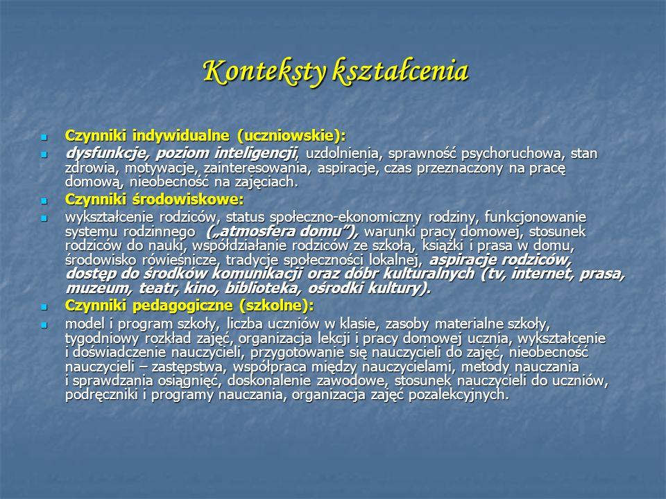 Konteksty kształcenia Czynniki indywidualne (uczniowskie): Czynniki indywidualne (uczniowskie): dysfunkcje, poziom inteligencji, uzdolnienia, sprawnoś