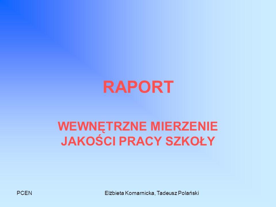 PCENElżbieta Komarnicka, Tadeusz Polański RAPORT WEWNĘTRZNE MIERZENIE JAKOŚCI PRACY SZKOŁY