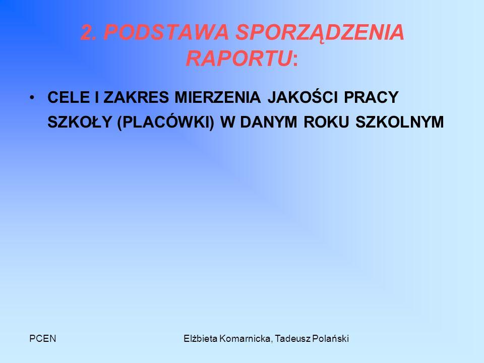 PCENElżbieta Komarnicka, Tadeusz Polański 2. PODSTAWA SPORZĄDZENIA RAPORTU: CELE I ZAKRES MIERZENIA JAKOŚCI PRACY SZKOŁY (PLACÓWKI) W DANYM ROKU SZKOL
