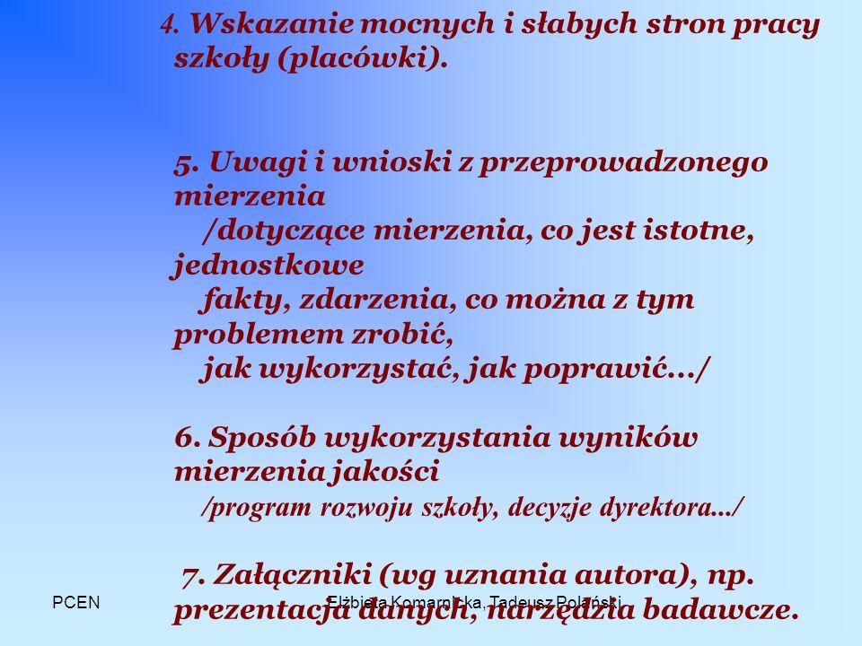 PCENElżbieta Komarnicka, Tadeusz Polański 4. Wskazanie mocnych i słabych stron pracy szkoły (placówki). 5. Uwagi i wnioski z przeprowadzonego mierzeni