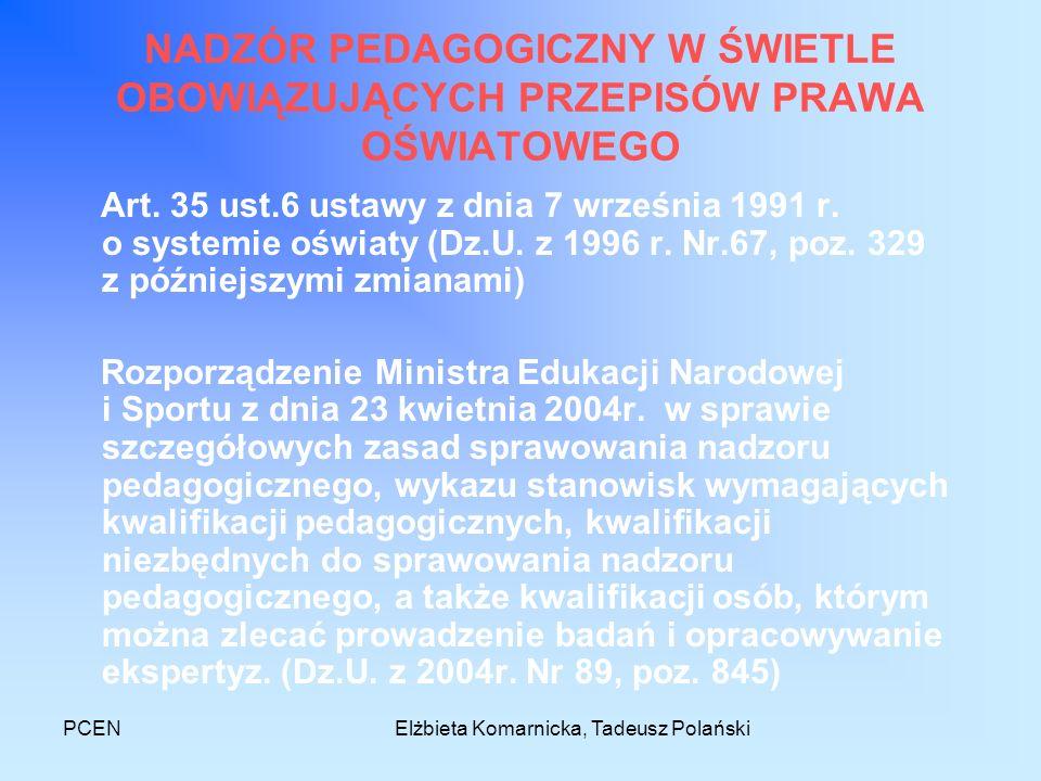 PCENElżbieta Komarnicka, Tadeusz Polański Zadania dyrektora w świetle nowego rozporządzenia 1) planuje, organizuje i przeprowadza wewnętrzne mierzenie jakości, w tym badanie osiągnięć edukacyjnych uczniów; 2) decyduje o doborze technik i narzędzi diagnostycznych wykorzystywanych przy dokonywaniu wewnętrznego mierzenia jakości, tworzy je oraz może współdziałać w ich tworzeniu z instytucjami wspomagającymi;