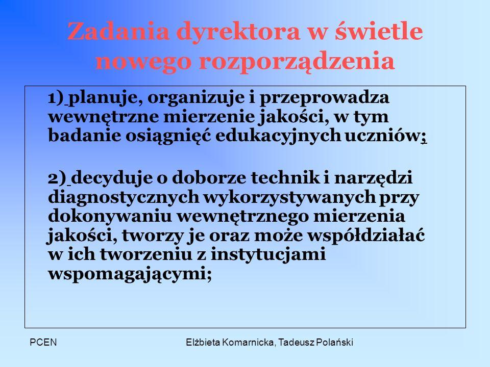 PCENElżbieta Komarnicka, Tadeusz Polański Zadania dyrektora w świetle nowego rozporządzenia 1) planuje, organizuje i przeprowadza wewnętrzne mierzenie