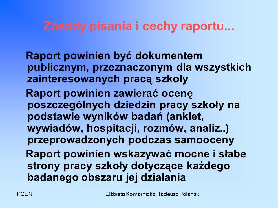 PCENElżbieta Komarnicka, Tadeusz Polański Zasady pisania i cechy raportu... Raport powinien być dokumentem publicznym, przeznaczonym dla wszystkich za