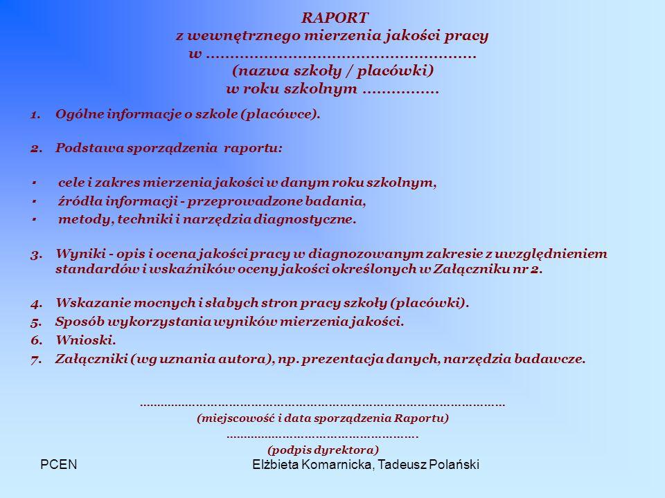 PCENElżbieta Komarnicka, Tadeusz Polański RAPORT z wewnętrznego mierzenia jakości pracy w........................................................ (naz