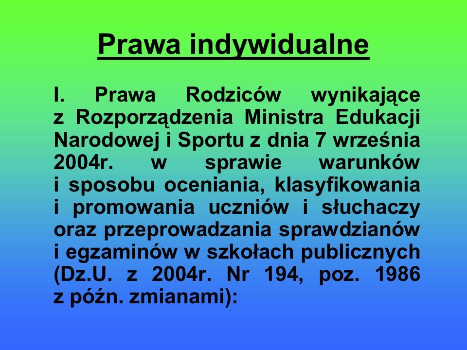 Prawa indywidualne I. Prawa Rodziców wynikające z Rozporządzenia Ministra Edukacji Narodowej i Sportu z dnia 7 września 2004r. w sprawie warunków i sp