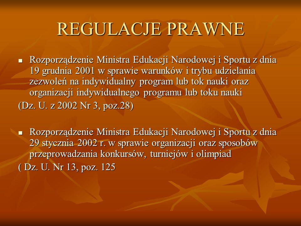 REGULACJE PRAWNE Rozporządzenie Ministra Edukacji Narodowej i Sportu z dnia 19 grudnia 2001 w sprawie warunków i trybu udzielania zezwoleń na indywidu
