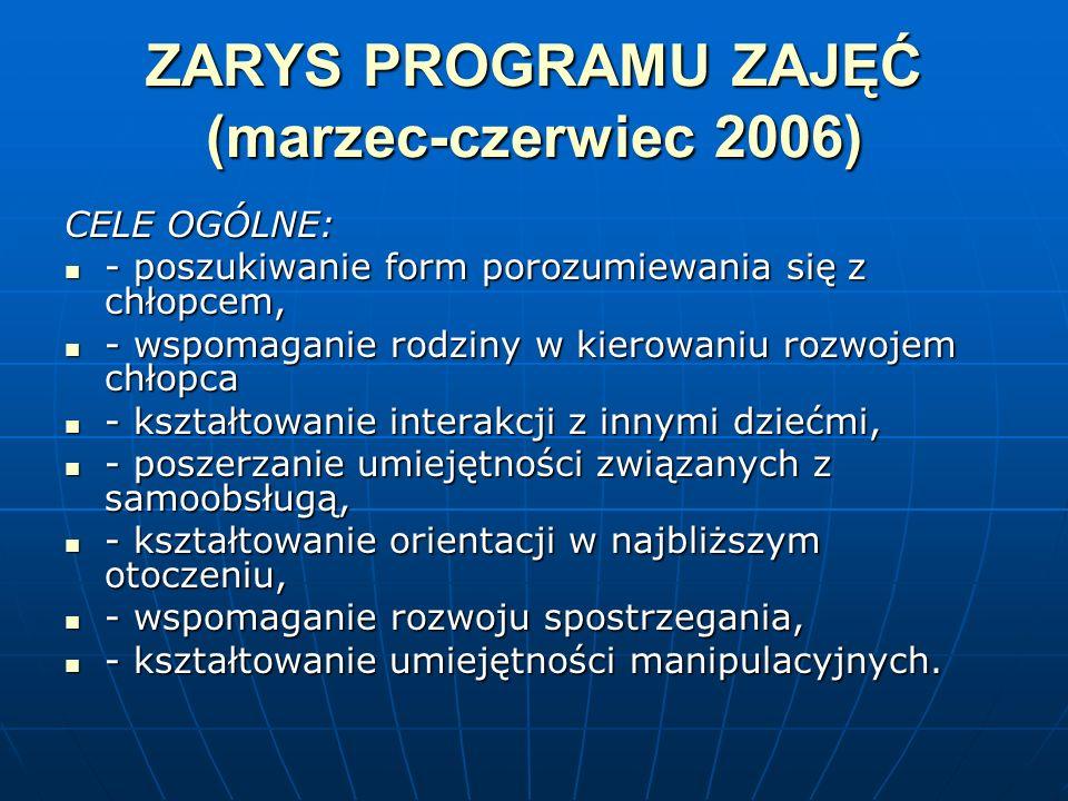 ZARYS PROGRAMU ZAJĘĆ (marzec-czerwiec 2006) CELE OGÓLNE: - poszukiwanie form porozumiewania się z chłopcem, - poszukiwanie form porozumiewania się z c