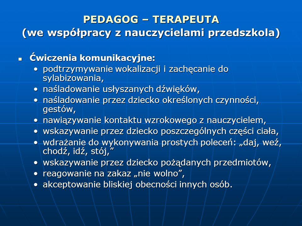 PEDAGOG – TERAPEUTA (we współpracy z nauczycielami przedszkola) Ćwiczenia komunikacyjne: Ćwiczenia komunikacyjne: podtrzymywanie wokalizacji i zachęca