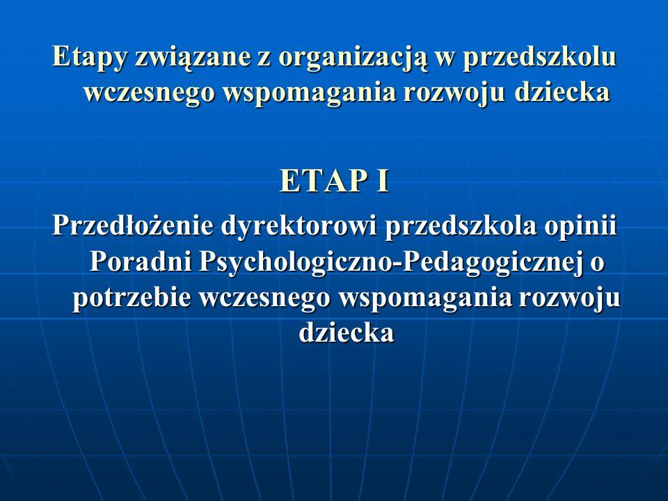 Etapy związane z organizacją w przedszkolu wczesnego wspomagania rozwoju dziecka ETAP I Przedłożenie dyrektorowi przedszkola opinii Poradni Psychologi