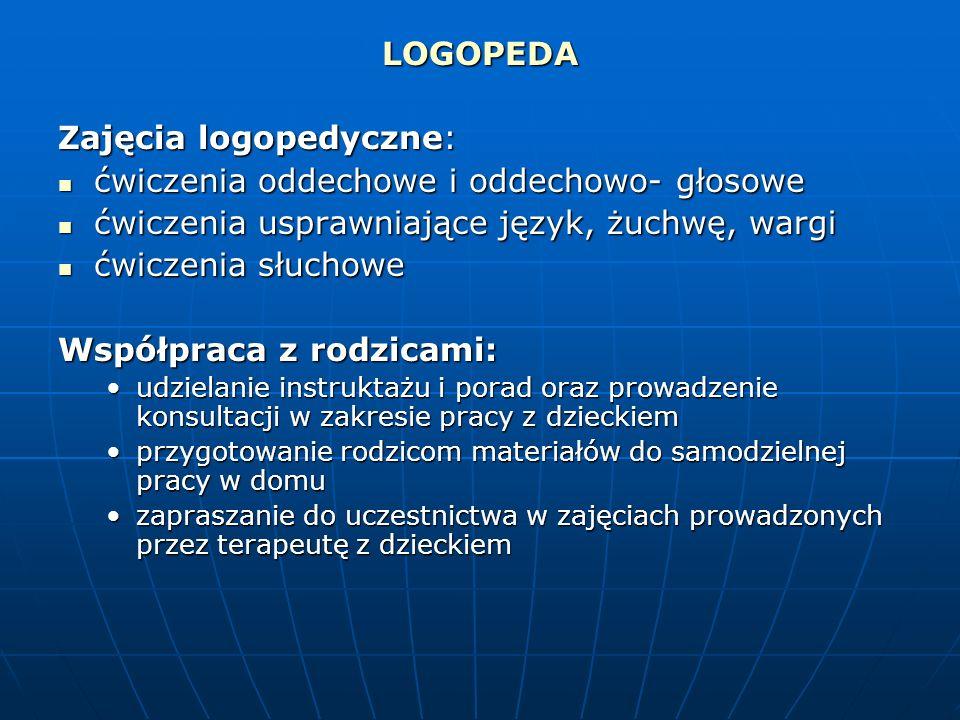 LOGOPEDA Zajęcia logopedyczne: ćwiczenia oddechowe i oddechowo- głosowe ćwiczenia oddechowe i oddechowo- głosowe ćwiczenia usprawniające język, żuchwę