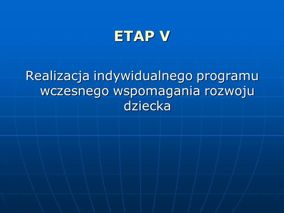 ETAP V Realizacja indywidualnego programu wczesnego wspomagania rozwoju dziecka