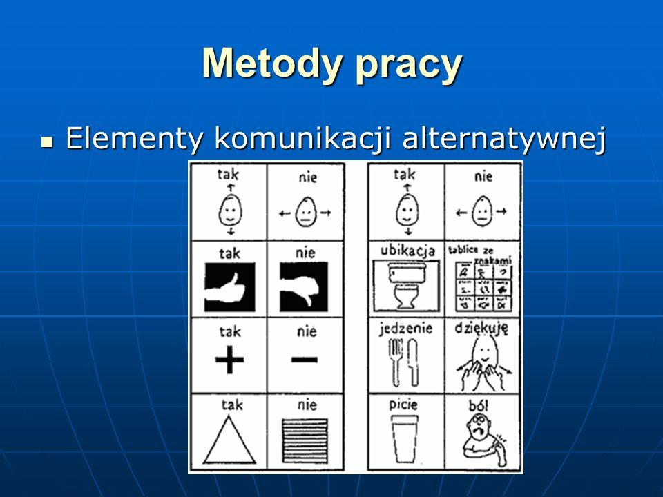 Metody pracy Elementy komunikacji alternatywnej Elementy komunikacji alternatywnej