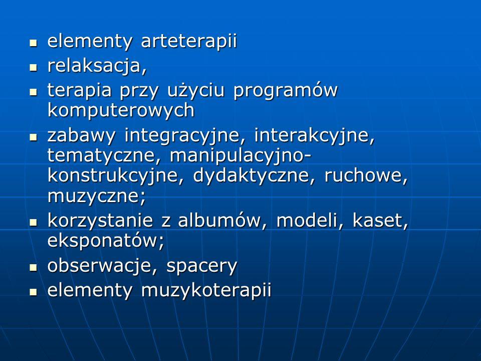 elementy arteterapii elementy arteterapii relaksacja, relaksacja, terapia przy użyciu programów komputerowych terapia przy użyciu programów komputerow