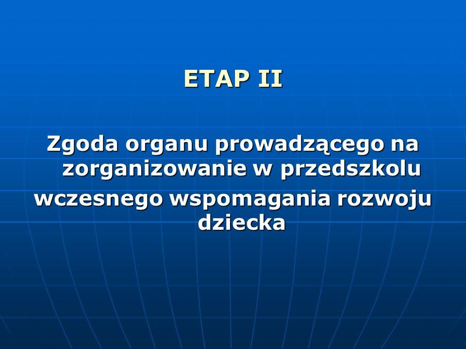 ETAP II Zgoda organu prowadzącego na zorganizowanie w przedszkolu wczesnego wspomagania rozwoju dziecka