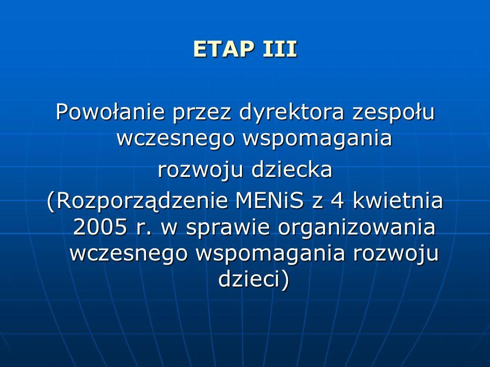 ETAP III Powołanie przez dyrektora zespołu wczesnego wspomagania rozwoju dziecka (Rozporządzenie MENiS z 4 kwietnia 2005 r. w sprawie organizowania wc