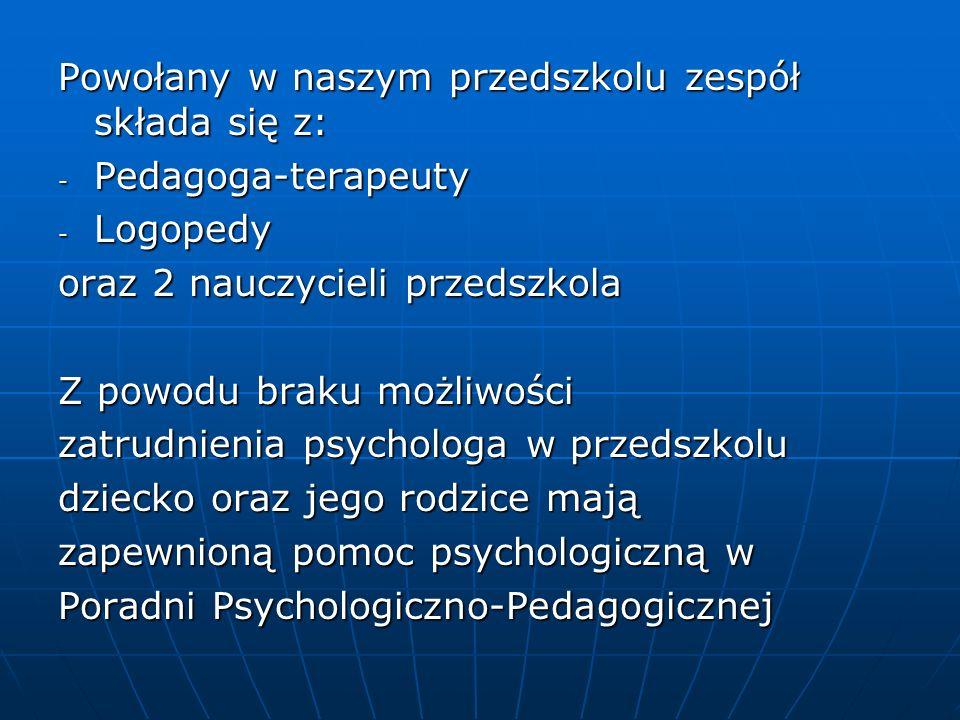 Powołany w naszym przedszkolu zespół składa się z: - Pedagoga-terapeuty - Logopedy oraz 2 nauczycieli przedszkola Z powodu braku możliwości zatrudnien