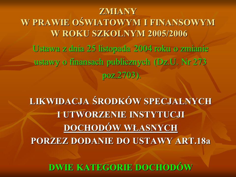 ZMIANY W PRAWIE OŚWIATOWYM I FINANSOWYM W ROKU SZKOLNYM 2005/2006 Ustawa z dnia 25 listopada 2004 roku o zmianie ustawy o finansach publicznych (Dz.U.