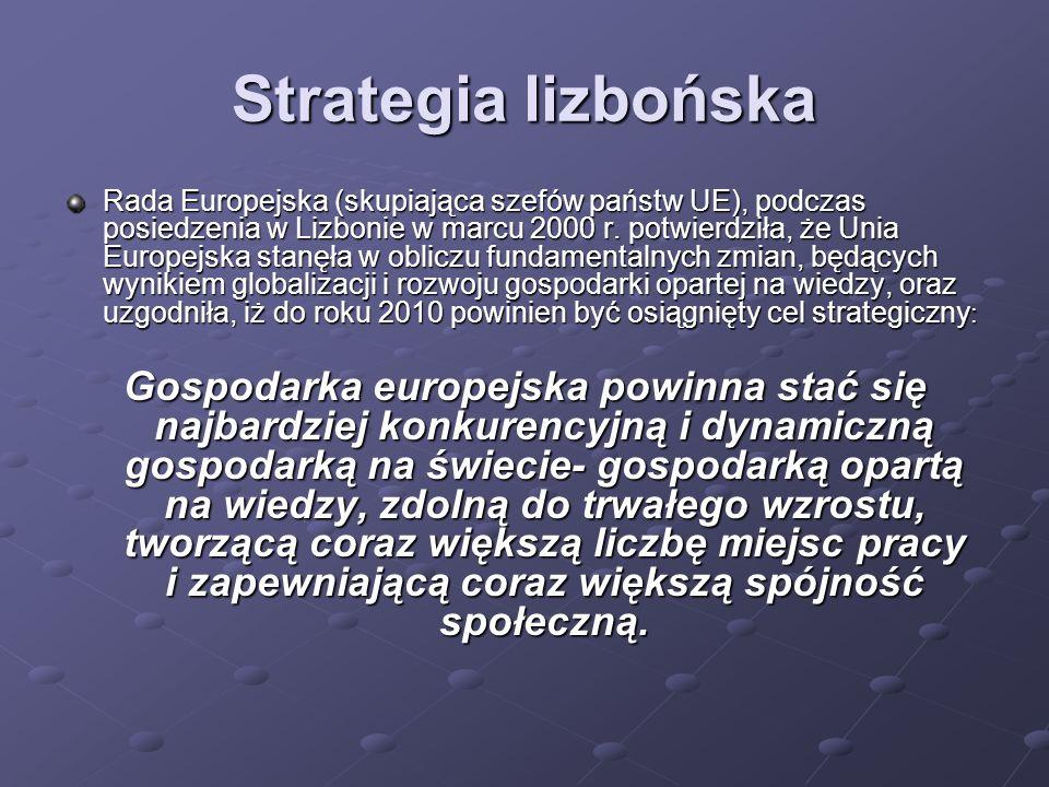 Strategia lizbońska Rada Europejska (skupiająca szefów państw UE), podczas posiedzenia w Lizbonie w marcu 2000 r.