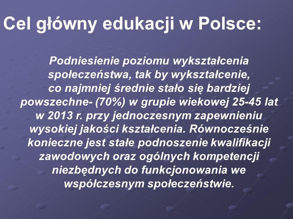Cel główny edukacji w Polsce: Podniesienie poziomu wykształcenia społeczeństwa, tak by wykształcenie, co najmniej średnie stało się bardziej powszechne- (70%) w grupie wiekowej 25-45 lat w 2013 r.