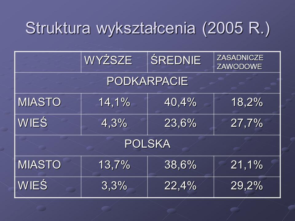 Struktura wykształcenia (2005 R.) WYŻSZEŚREDNIE ZASADNICZE ZAWODOWE PODKARPACIE MIASTO14,1%40,4%18,2% WIEŚ4,3%23,6%27,7% POLSKA MIASTO13,7%38,6%21,1% WIEŚ3,3%22,4%29,2%