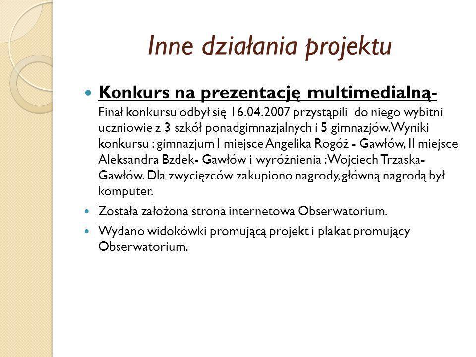 Inne działania projektu Konkurs na prezentację multimedialną- Finał konkursu odbył się 16.04.2007 przystąpili do niego wybitni uczniowie z 3 szkół pon