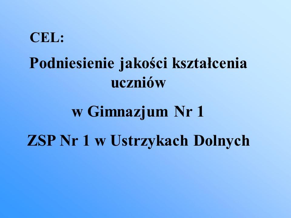 Podniesienie jakości kształcenia uczniów w Gimnazjum Nr 1 ZSP Nr 1 w Ustrzykach Dolnych CEL: