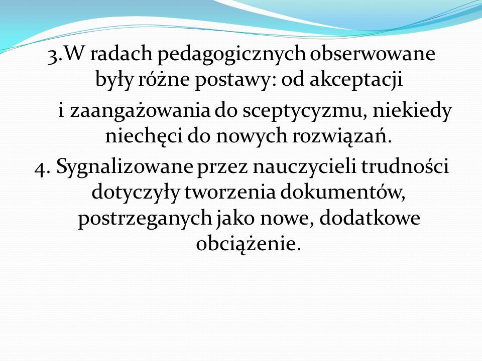 3.W radach pedagogicznych obserwowane były różne postawy: od akceptacji i zaangażowania do sceptycyzmu, niekiedy niechęci do nowych rozwiązań. 4. Sygn