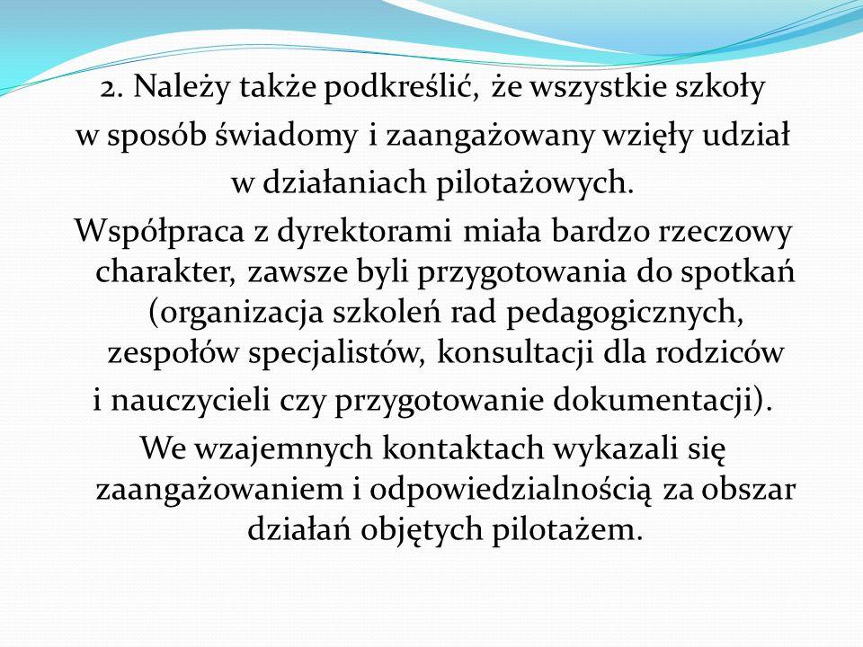 3.W radach pedagogicznych obserwowane były różne postawy: od akceptacji i zaangażowania do sceptycyzmu, niekiedy niechęci do nowych rozwiązań.