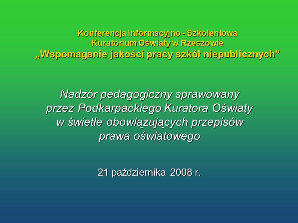 Konferencja Informacyjno - Szkoleniowa Kuratorium Oświaty w Rzeszowie Wspomaganie jakości pracy szkół niepublicznych Nadzór pedagogiczny sprawowany pr