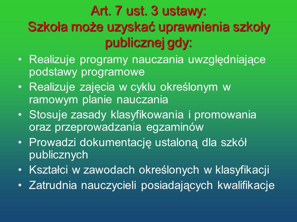 Art. 7 ust. 3 ustawy: Szkoła może uzyskać uprawnienia szkoły publicznej gdy: Realizuje programy nauczania uwzględniające podstawy programowe Realizuje