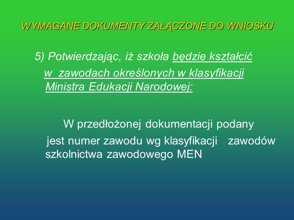 WYMAGANE DOKUMENTY ZAŁĄCZONE DO WNIOSKU 5) Potwierdzając, iż szkoła będzie kształcić w zawodach określonych w klasyfikacji Ministra Edukacji Narodowej
