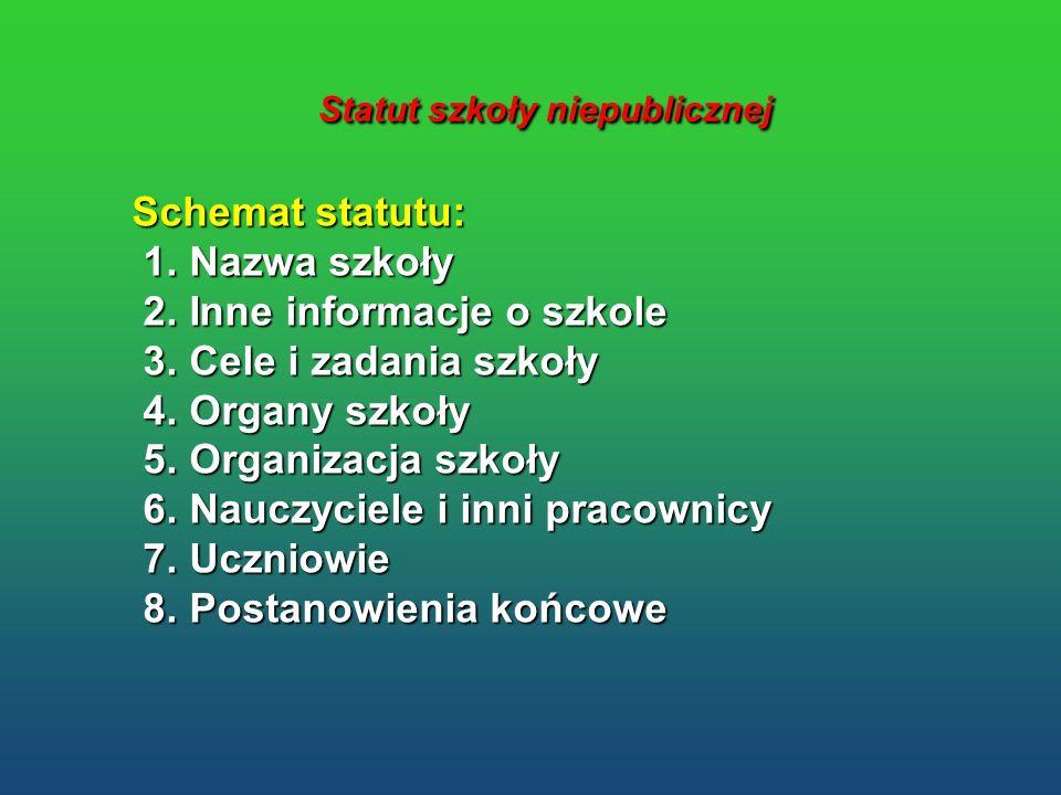 Statut szkoły niepublicznej Statut szkoły niepublicznej Schemat statutu: 1. Nazwa szkoły 1. Nazwa szkoły 2. Inne informacje o szkole 2. Inne informacj