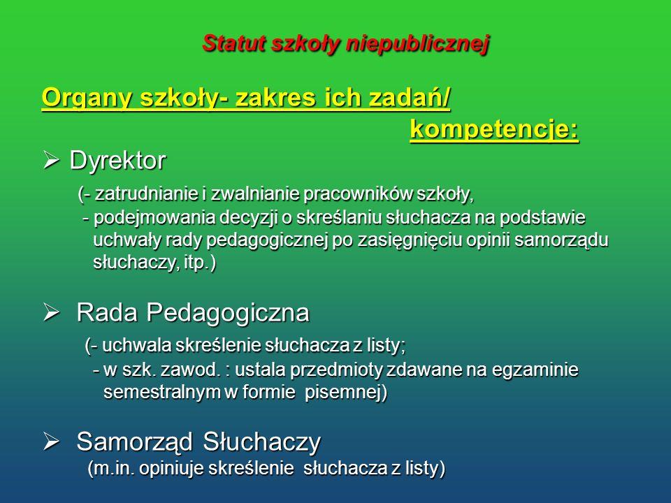 Statut szkoły niepublicznej Statut szkoły niepublicznej Organy szkoły- zakres ich zadań/ kompetencje: kompetencje: Dyrektor Dyrektor (- zatrudnianie i