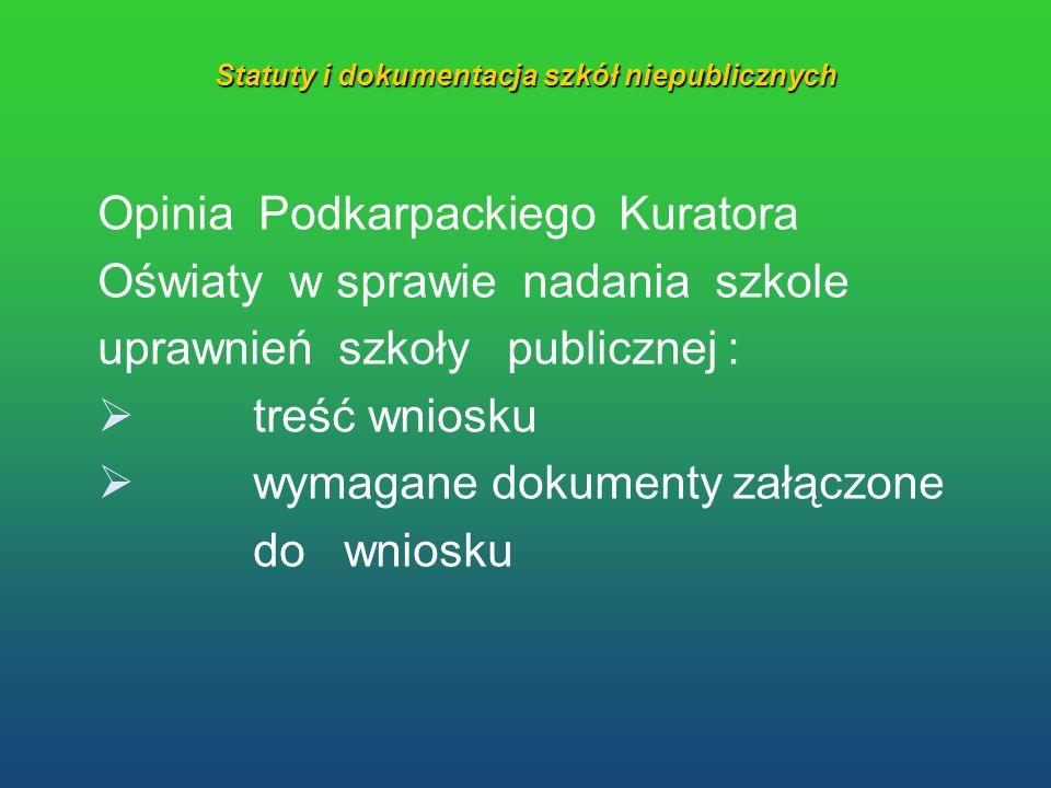 Statuty i dokumentacja szkół niepublicznych Opinia Podkarpackiego Kuratora Oświaty w sprawie nadania szkole uprawnień szkoły publicznej : treść wniosk