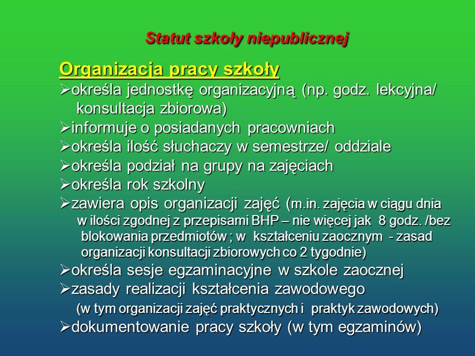 Statut szkoły niepublicznej Statut szkoły niepublicznej Organizacja pracy szkoły określa jednostkę organizacyjną (np. godz. lekcyjna/ określa jednostk