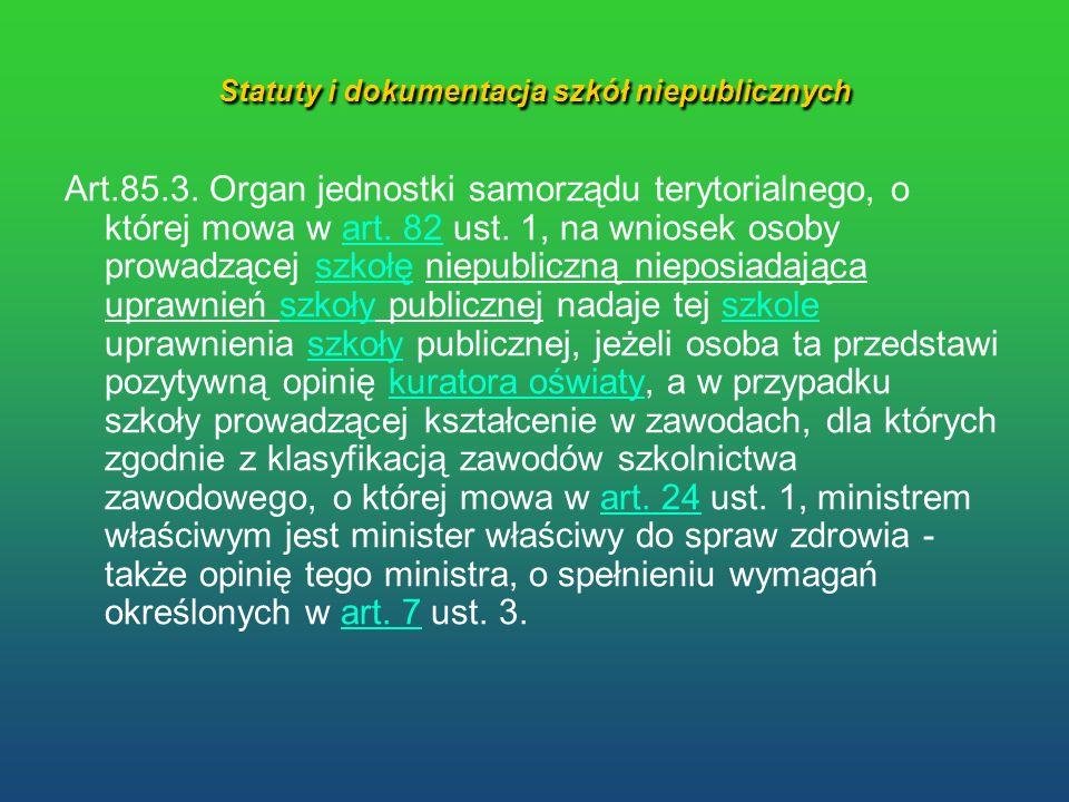 Statuty i dokumentacja szkół niepublicznych Art.85.3. Organ jednostki samorządu terytorialnego, o której mowa w art. 82 ust. 1, na wniosek osoby prowa