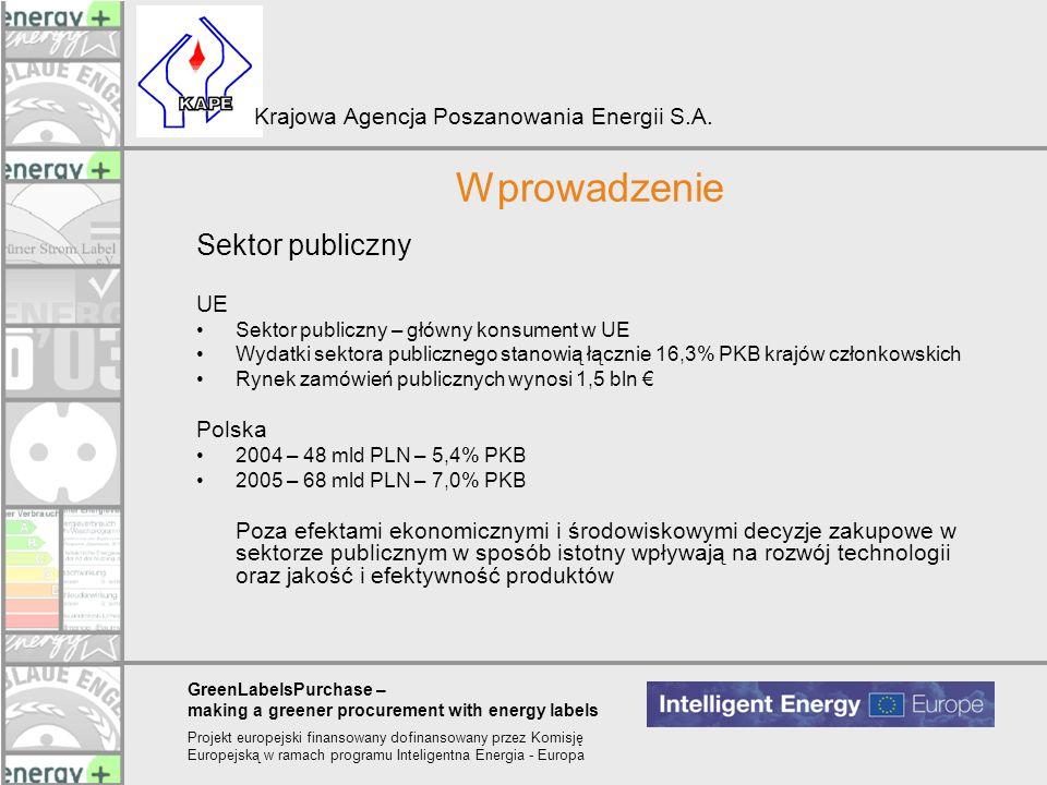 GreenLabelsPurchase – making a greener procurement with energy labels Projekt europejski finansowany dofinansowany przez Komisję Europejską w ramach programu Inteligentna Energia - Europa Krajowa Agencja Poszanowania Energii S.A.