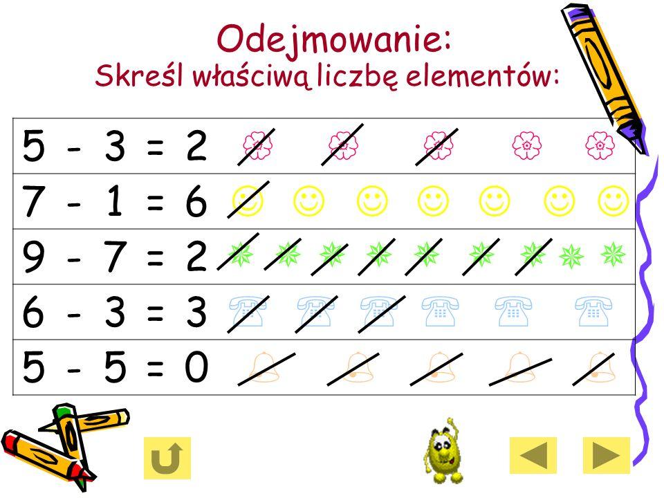 Odejmowanie: Skreśl właściwą liczbę elementów: 5-3=2 7-1=6 9-7=2 6-3=3 5-5=0