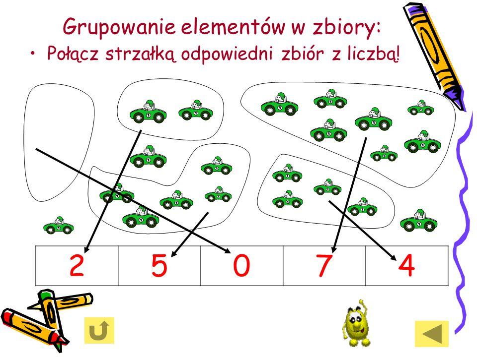 Grupowanie elementów w zbiory: Połącz strzałką odpowiedni zbiór z liczbą! 25074