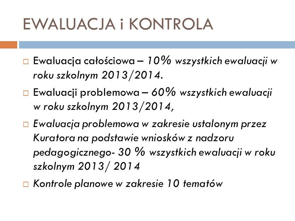 EWALUACJA i KONTROLA Ewaluacja całościowa – 10% wszystkich ewaluacji w roku szkolnym 2013/2014. Ewaluacji problemowa – 60% wszystkich ewaluacji w roku
