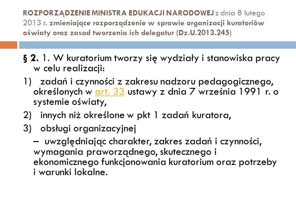 ROZPORZĄDZENIE MINISTRA EDUKACJI NARODOWEJ z dnia 8 lutego 2013 r. zmieniające rozporządzenie w sprawie organizacji kuratoriów oświaty oraz zasad twor