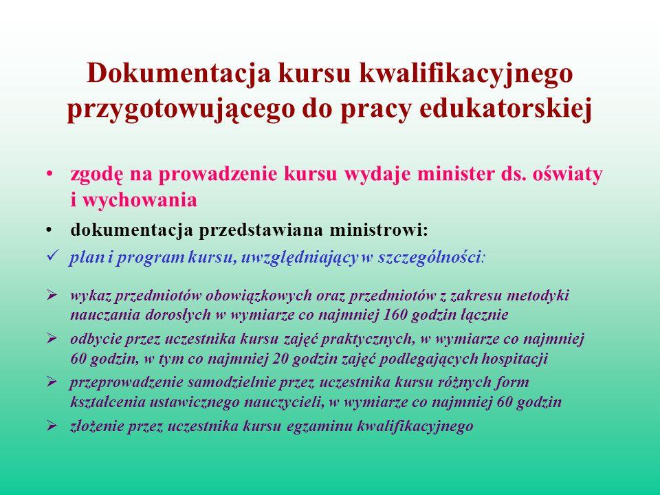 Dokumentacja kursu kwalifikacyjnego przygotowującego do pracy edukatorskiej zgodę na prowadzenie kursu wydaje minister ds. oświaty i wychowania dokume