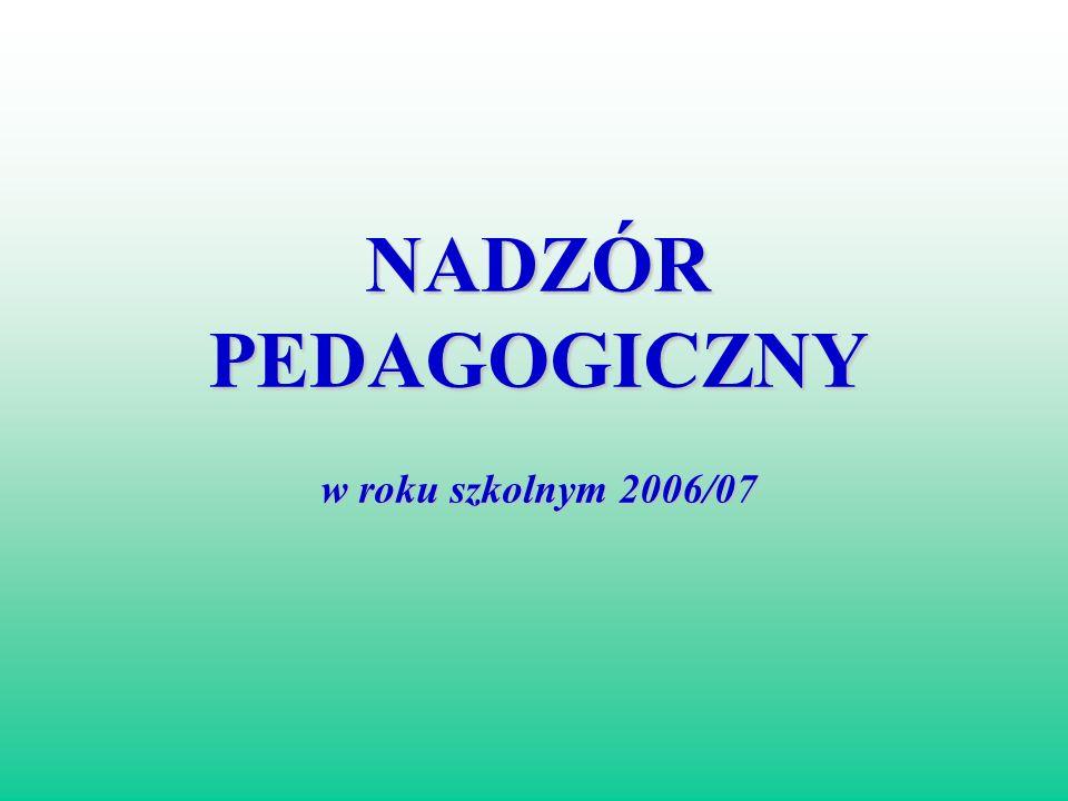 NADZÓR PEDAGOGICZNY w roku szkolnym 2006/07